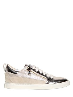 DSquared 20mm Mirrored Leather And Suede Sneakers