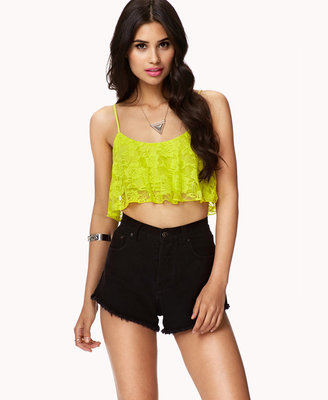Forever 21 Ruffled Lace Crop Top