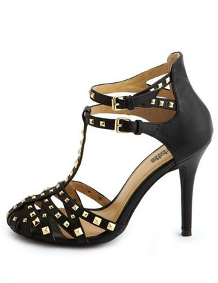 Charlotte Russe Studded T-Strap Single Sole Pump