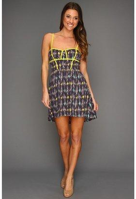 Roxy Dear Delight Dress (Blue Black Print) - Apparel