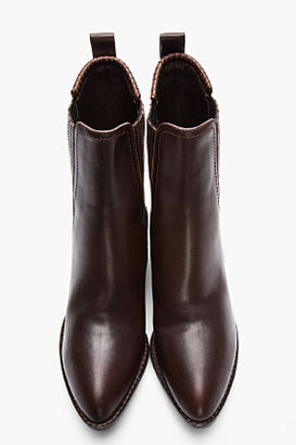 Alexander Wang Dark Brown Leather Silver-Heeled Anouck Chelsea Boots