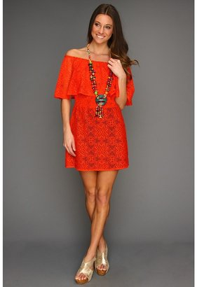 T-Bags Tbags Los Angeles - Layered Off Shoulder and Smocked Waist Mini Dress (Coral) - Apparel