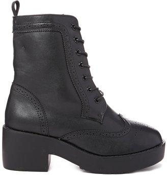 Truffle Platform Brogue Flat Lace Up Boots - Black