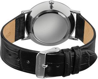 Men's Black Leather, Cream, & Stainless Steel Round Watch