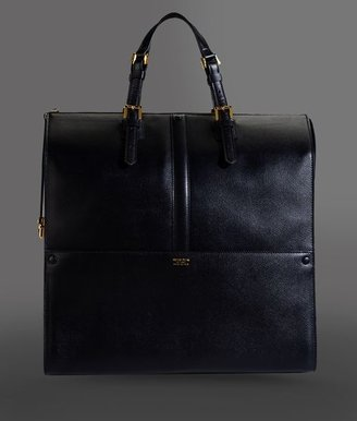 Giorgio Armani Large Tote In Calfskin With Zipper