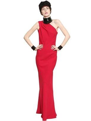 John Galliano Draped One Shoulder Crepe Long Dress
