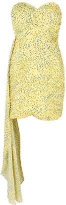 Lavish Alice Yellow Floral-print Chiffon Mini Dress