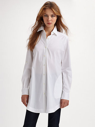 Lafayette 148 New York Stretch Cotton Tunic Blouse