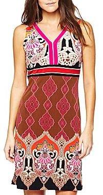 Liz Claiborne Printed V-Neck Dress-Petite