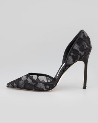 Manolo Blahnik Tayler Lace Pointed d'Orsay Pump, Black
