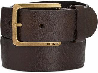 Tommy Hilfiger Men Heavy Brass Buckle Leather Belt