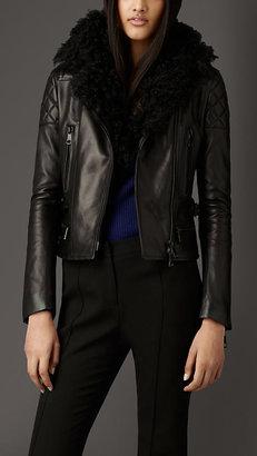 Burberry Shearling Collar Nappa Leather Biker Jacket