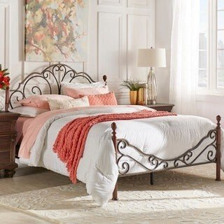 Inspire Q LeAnn Graceful Scroll Bronze Iron Bed by Classic