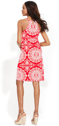 INC International Concepts Petite Dress, Halter Medallion-Print Empire-Waist