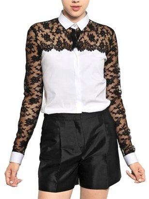 Valentino Cotton Lace On Cotton Poplin Shirt