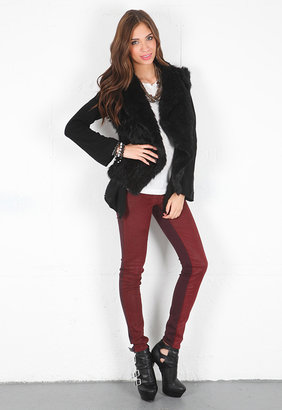 Minnie Rose Cashmere Duster with Fur Vest in Black