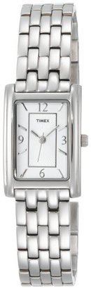 Timex Women's T2N046 Silver-Tone Fashion Rectangle Dress Watch $119.95 thestylecure.com