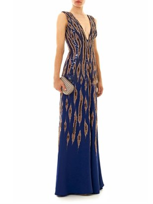 Issa Embroidered georgette gown