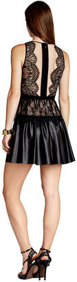 BCBGMAXAZRIA Dress, Sleeveless Scoop-Neck Lace Faux-Leather