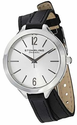 Stuhrling Original Women's 568.01 Deauville Sport Swiss Quartz Black Leather Wrap Around Watch