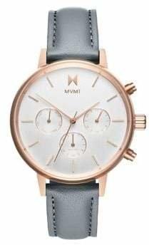 MVMT Nova Dorado Stainless Steel Leather-Strap Watch