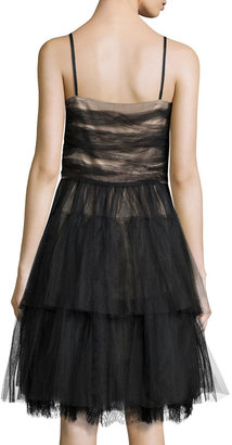 RED Valentino Tiered Lace & Tulle Cocktail Dress, Black