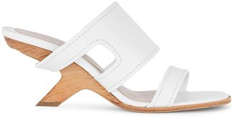 Alexander McQueen 75 White Leather Mules