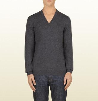 Gucci Dark Grey Merino Wool V-Neck Sweater