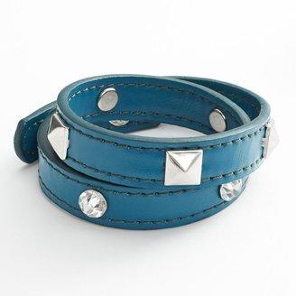 Mudd simulated crystal stud leather wrap bracelet