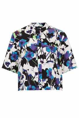 Topshop Poppy shadow print short sleeve shirt