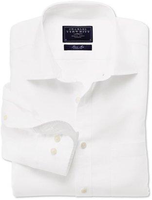 Charles Tyrwhitt White linen mix long sleeve shirt