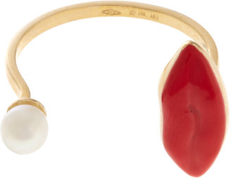 Delfina Delettrez Pearl, gold & enamel ring
