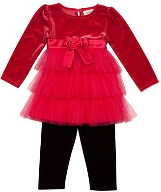 Youngland® Floral Tiered Velvet Dress And Leggings Set