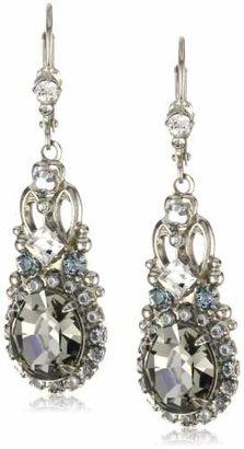 """Sorrelli Pewter"""" Double Loop Crystal Stardust Drop Earrings"""