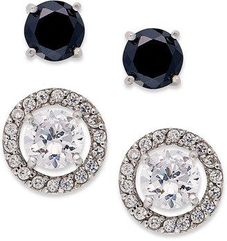 B. Brilliant Sterling Silver Earrings Set, Black and White Cubic Zirconia Stud Earrings (3-1/3 ct. t.w.)