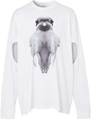 Burberry Cut-out Sleeve Swan Print Cotton Oversized Top