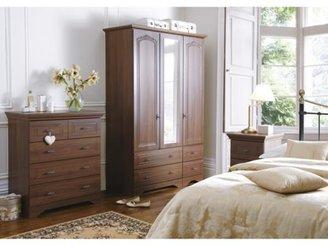 Consort Furniture Limited Berkley 3-door, 4-drawer Mirrored Wardrobe
