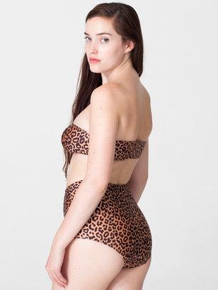 American Apparel Cheetah Print Nylon Tricot Ruched Front Bikini Tube Top
