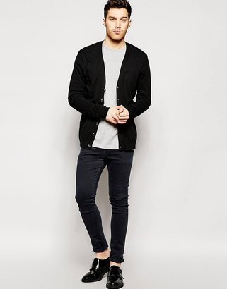 Asos Cardigan In Black Cotton