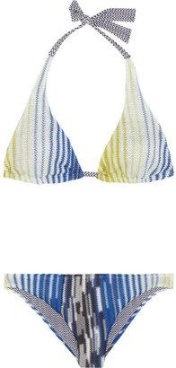 Missoni Zigzag and crochet-knit halterneck bikini