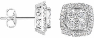 TRUMIRACLE TruMiracle 1/2 CT. T.W. Diamond Square Sterling Silver Earrings