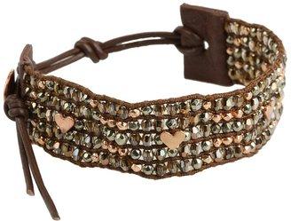 Chan Luu Valentine's Crystal Mix Single Bracelet w/ Rose Gold Hearts (Bronze Shade Mix) - Jewelry