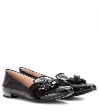 Miu Miu Embellished cracked-leather loafers