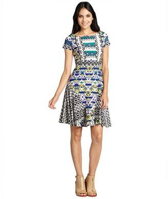 Taylor cobalt and lime patternblocked cap sleeve flare jersey dress