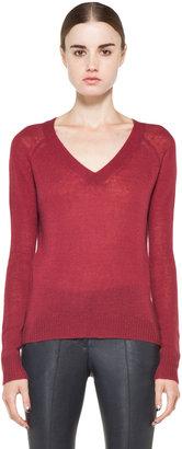 Enza Costa Cashmere V Neck Sweater in Dark Red