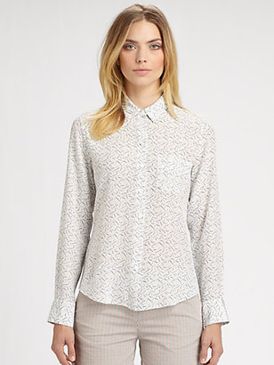 Band Of Outsiders Silk Cities Print Shirt