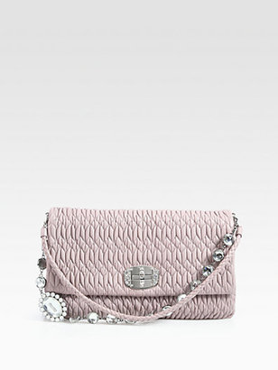 Miu Miu Nappa Cristal Leather Clutch