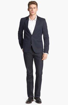 BOSS Men's Jameson Slim Fit Diamond Weave French Cuff Tuxedo Shirt