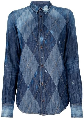 DSquared DSQUARED2 argyle pattern denim shirt
