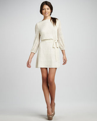Ali Ro Sparkle-Knit Belted Dress